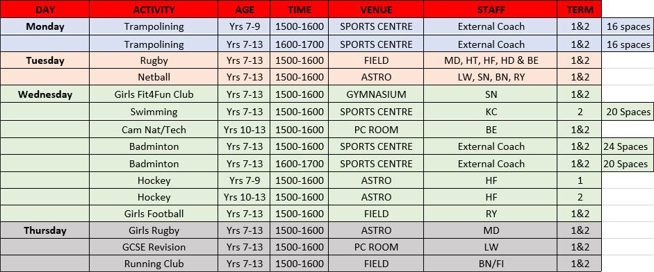 PE Clubs   September 2021