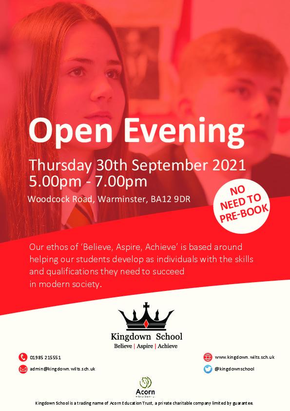 Kingdown Open Evening Advert