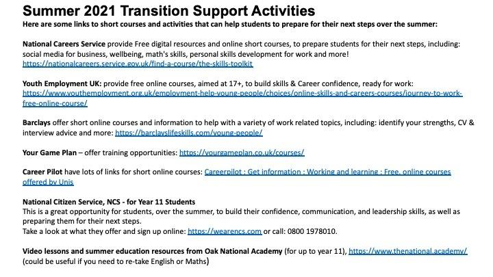 Summer 2021 transition   Slide1